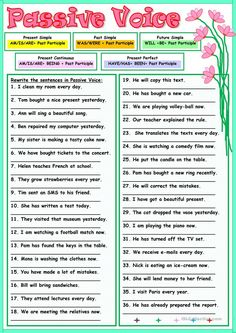 Thirty-six sentences for practicing the use of the Passive Voice. Key is included. Grammar: Passive voice or active voice Grammar Rules, Grammar And Vocabulary, Grammar Lessons, English Vocabulary, English Tips, English Words, English Lessons, Active And Passive Voice, Active Voice