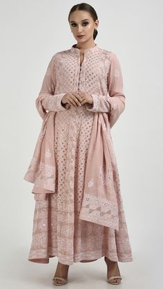Pearl Pink Chikankari With Kamdani Anarkali Pure Georgette Suit Designer Dress For Men, Indian Designer Suits, Designer Dresses, Pakistani Dress Design, Pakistani Dresses, Indian Dresses, Pakistani Suits, Anarkali Suits, Lucknowi Suits