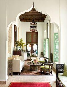 Moroccan livingroom in Architectural Digest. My Marrakesh blog