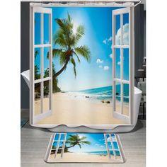 Window Scenery Coconut Tree Bath Curtain and Rug