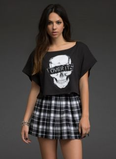 Over It Skull Crop Top | Graphic Tees