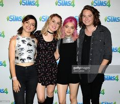 Rena Lovelis, Miranda Miller, Nia Lovelis and Casey Moreta of the band Hey Violet pose in the green room at the 2016 Teen Choice Awards at The Forum on July 31, 2016 in Inglewood, California.