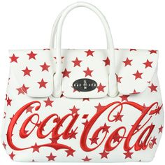 Mia Bag 'Coca Cola' Print Tote Bag ($150) ❤ liked on Polyvore featuring bags, handbags, tote bags, shoulder strap purses, pattern purse, white tote bag, white purse and print handbags