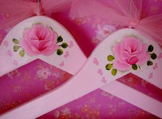 Clothes Hangers Hand Painted Pink Roses Lace Set by pinkrose1611