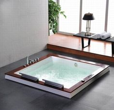 wide hot tub with square design