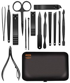 Professional Manicure Pedicure Set Travel Size - Manicure Kits for Women - Stainless Steel 16-Piece Nail Clippers, Cuticle Nipper, Remover, Tweezers, Nail File - with Travel Case - by Utopia Care. For product & price info go to:  https://beautyworld.today/products/professional-manicure-pedicure-set-travel-size-manicure-kits-for-women-stainless-steel-16-piece-nail-clippers-cuticle-nipper-remover-tweezers-nail-file-with-travel-case-by-utopia-care/