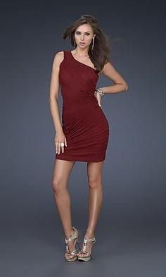 one shoulder maroon dress