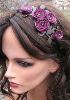 Purple flower headband leather amethyst roses by Leatherblossoms, $46.00