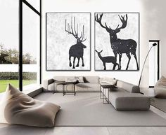 Set Of 2 minimalist art on canvas, hand painted black and white deer painting from CZ ART DESIGN, for minimalist home and modern interiors. @CeilneZiangArt