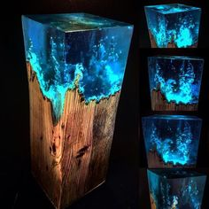 Resin lamp – Idee – New Epoxy Diy Resin Art, Diy Resin Crafts, Diy Arts And Crafts, Wood Crafts, Wood Resin Table, Epoxy Resin Wood, Woodworking Epoxy Resin, Resin Furniture, Handmade Lamps