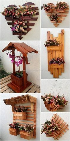 Creative Ideas for Recycling Used Wooden Pallets So many cool DIY pallet ideas for the garden. Unique pallet plant holders and flower boxes. Wood Pallet Planters, Wooden Pallet Projects, Wooden Pallet Furniture, Wooden Pallets, Garden Pallet, Pallet Wood, Diy Wooden Crafts, Pallet Projects Diy Garden, Plastic Pallets