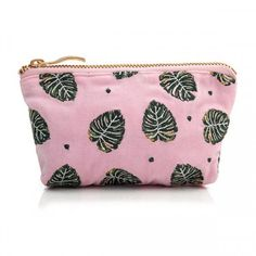This pretty Elizabeth Scarlett Jungle Leaf Rose Shadow Mini Pouch Coin Purse is perfect for keys, loose change or those essential bits of makeup. Made from beautiful rose pink coloured velvet, it has PU waterproof lining, gold zip and is adorned with e Duvet Cover Sale, Cushions For Sale, Velvet Cushions, Hand Illustration, Pink Velvet, Green And Gold, Coin Purse, Pouch, Purses