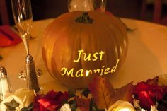 Cute idea for October wedding  --Or maybe with their names and the date of the wedding