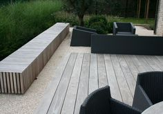 Wooden seating box in a reduced setting Garden Seating, Outdoor Seating, Outdoor Spaces, Outdoor Living, Outdoor Decor, Dutch Gardens, Back Gardens, Landscape Architecture, Landscape Design