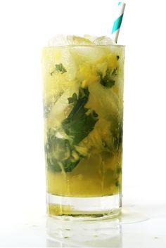 Pineapple Mojito12 mint leaves 2 oz. fresh pineapple chunks 1 oz. fresh lime juice 1 oz. simple syrup 2 oz. pineapple-coconut rum (like Bacardi Fusion) 1⁄2 oz. Grand Marnier 3 oz. ginger ale