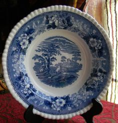 Adams Cattle Scenery Vintage Blue Transferware Shallow Salad / Soup Bowl Cows Sheep Cottage