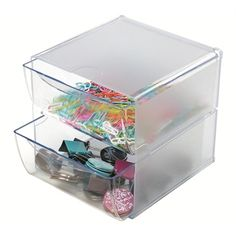 Deflecto Stackable Cube Organizer, Two Drawer Great for keeping crafting supplies organized. This clear storage organizer will work for any home or office. Craft Organization, Craft Storage, Storage Bins, Storage Containers, Organizing, Cubes, Cube Organizer, Plastic, Solution