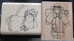 Country Angels Rubber Stamps lot by CraftyRedesigns on Etsy