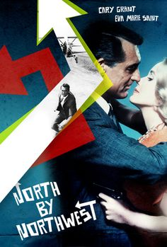 North By Northwest (Alfred Hitchcock, poster by Ed Pires: One of the best. Poster Ads, Film Posters, Retro Posters, Music Posters, 1980's Movies, Movie Tv, Food Film, North By Northwest, Cary Grant