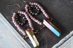 Quartz Earrings - Purple Bohemian Earrings - Stone Earrings - Hematite Earrings - Bead Soup Jewelry by BeadSoupJewelry on Etsy