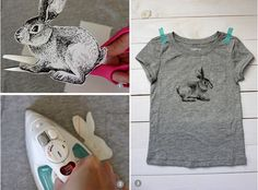 DIY Iron On Bunny TShirt with free Printable Bunny.  You could use this on a pillow or many other things to inspire your Easter decor.  Yes, the iron on is free, as of 3/26/14.  Let me know if you find otherwise.