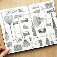 Klika Design: Creativebug Drawing Challenge with Lisa Congdon Day 10: broom.