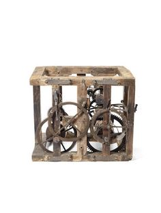 A rare and interesting late 17th century oak framed turret clock movement Possibly by John Watts of Stamford