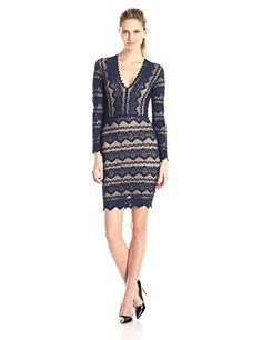 Nightcap Women's Sierrla Lace Deep V Long Sleeve Dress, N...