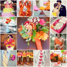 Colors -bright flowers - orange pink and yellow wedding