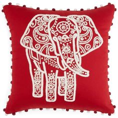 """Sky Indigo Patchwork Elephant Decorative Pillow, 16"""" x 16"""" ($115) ❤ liked on Polyvore featuring home, home decor, throw pillows, red, elephant home decor, red home decor, indigo blue throw pillows, red toss pillows and red accent pillows"""