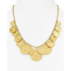 kate spade new york Coin Statement Necklace, 18 ($180) ❤ liked on Polyvore featuring jewelry, necklaces, gold, yellow gold necklace, statement necklaces, yellow gold jewelry, kate spade jewelry and gold coin jewelry