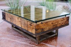 custom coffee table made from reclaimed wood by Peter Thomas Designs in Scottsdale, Arizona. Coffee Table Centerpieces, Decorating Coffee Tables, Table Decorations, Metal Furniture, Rustic Furniture, Diy Furniture, Business Furniture, Outdoor Furniture, Made Coffee Table