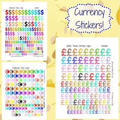 Currency Stickers! | Free Printable Planner Stickers from plannerproblem101.com! Available in dollar signs, pound sterlings, euros, and yens. Download for free at https://plannerproblem101.com/2016/09/12/multicolor-currency-icons-symbols-glitter-solid-free-printable-planner-stickers/
