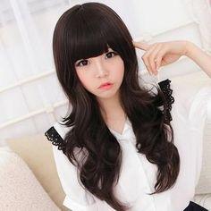 Heavy front bangs. Long wavy hair. Love asian hair <3