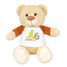 Plush Teddy Bear Wearing a Customized Birthday by JustAddAName, $17.95