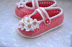 """Купить Туфельки """" Маргаритки """" - белый, цветочный, пинетки, пинетки для новорожденных, пинетки для девочки ♡"""