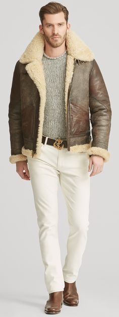 Luxury & Vintage Madrid, bring you the world's best selection of contemporary and vintage clothing, discover our top brands. Sherling Jacket, Mens Shearling Jacket, Aviator Jacket Mens, Aviator Jackets, Preppy Mens Fashion, Best Mens Fashion, Ralph Lauren, Menswear, Vintage Clothing