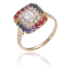 Mens Rainbow Diamond Engagement Ring Wedding Band 14K by Equalli