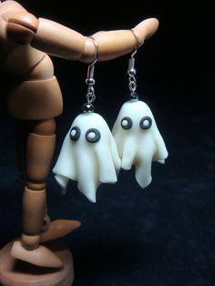 #Halloween ghost #polymer #clay earrings. Cute!