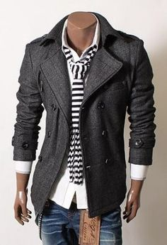 SLS Distributors Men's Boutique, LLC - Wool Herringbone Pea Coat