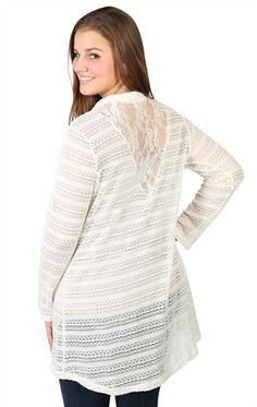Plus Size Long Sleeve Cozy Sweater with Lace Back