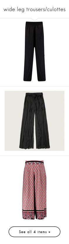 """wide leg trousers/culottes"" by bekahtee ❤ liked on Polyvore featuring pants, loose fitted pants, cut loose pants, loose pants, wide leg pants, wide leg trousers, black, sheer pants, high-waisted wide leg pants and high-waisted trousers"