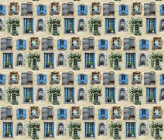 Windows and Windowboxes fabric by hollywood_royalty on Spoonflower - custom fabric