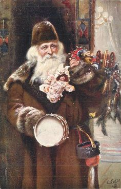 Set Title:CHRISTMAS brown coated Santa Set Comment OILETTE, PROCESSED IN BAVARIA, come with Christmas greetings in brown on back Sold As:set of 3 cards  many toys, prominent drum & doll