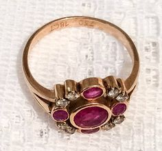 Ruby and Diamond Ring 18K Gold Art Deco NEW YEAR by OurBoudoir