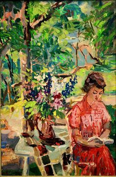 Emilio Grau Sala Reading in the garden