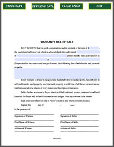 Bill Of Sale Form  Forms    Html Bill OBrien And
