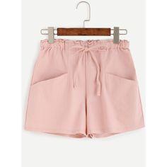 Pink Drawstring Pockets Shorts (105 CNY) ❤ liked on Polyvore featuring shorts, drawstring shorts, draw string shorts, pink shorts and pocket shorts