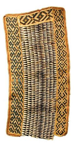 Africa | Kuba cloth from DR Congo | The central park is bark cloth the sides are raffia cloth | These types of special wrapes are worn outside, or on top of, long dance skirts by the Kuba, for extra decoration and prestige.