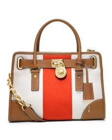 White Red and Brown Color-block Striped Canvas  Satchel  Bag by MICHAEL  Michael Kors 2d4871cd19128